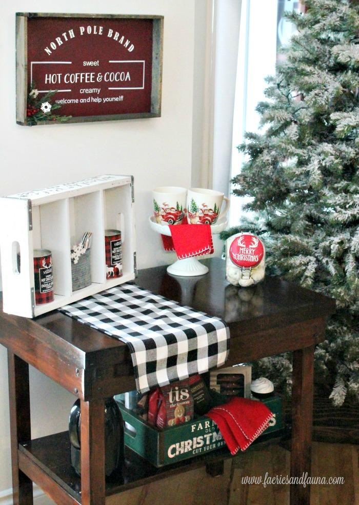 A DIY coffee bar with a DIY Hot chocolate sign.