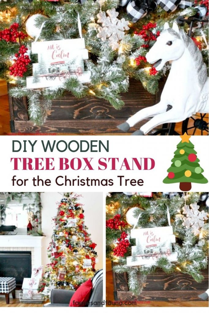 A handmade wooden Christmas tree stand box for a Christmas tree