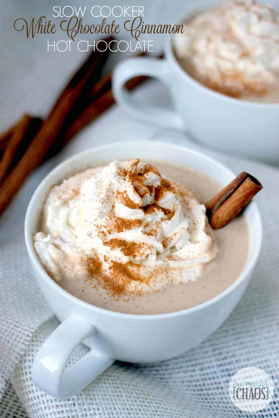 Slow Cooker Hot Chocolate recipe made with white chocolate