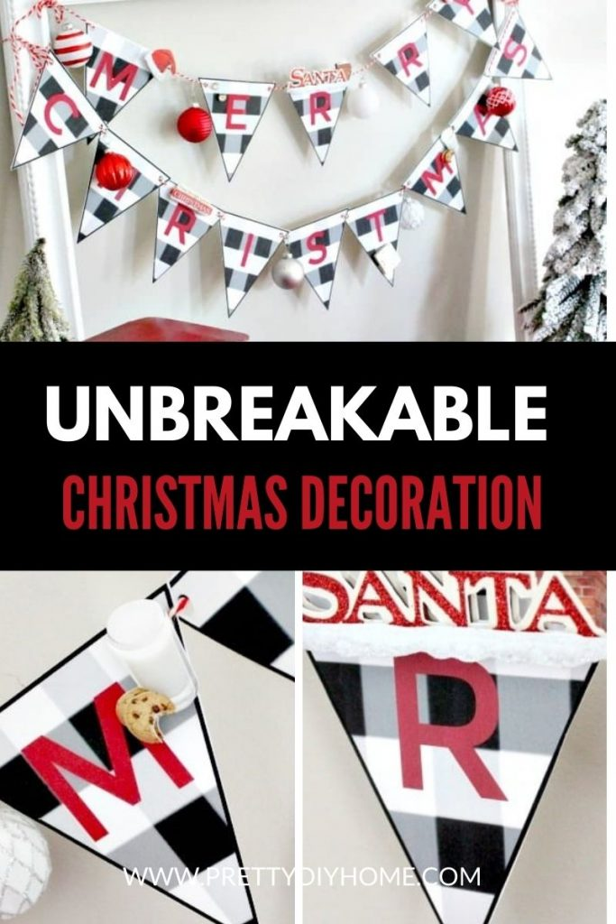 Black and white buffalo check printable banner that says Merry Christmas,