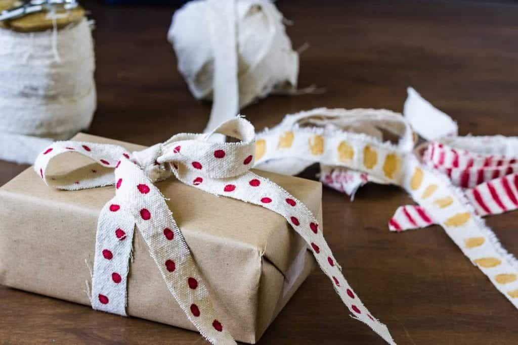 Christmas Wrapping Ideas - DIY Ribbon from Drop Cloth