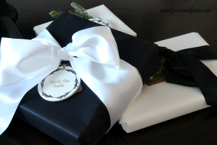 Elegant gift wrapping for Christmas.
