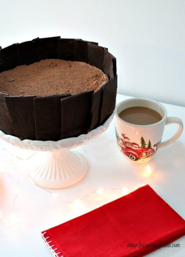 Chocolate Cheesecake Recipe with a Belgian chocolate collar for special occasions.