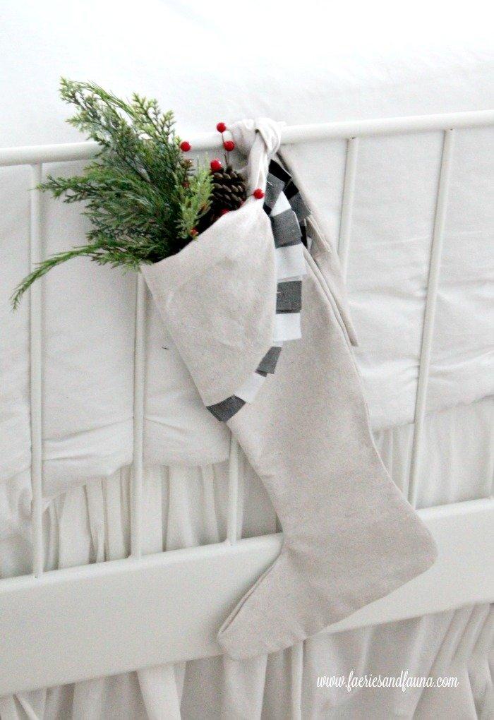 Gorgeous handmade DIY Christmas stocking .