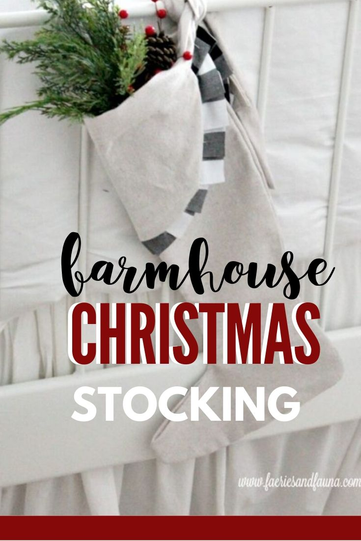 Farmhouse DIY Stockings made with drop cloth and buffalo check