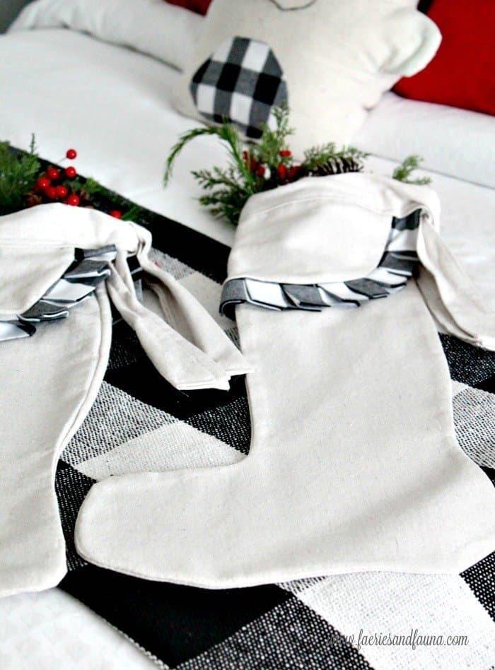 Feminine Buffalo Checked DIY Christmas Stockings in a Farmhouse Style