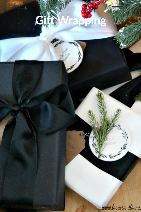 Gift wrapping for Christmas in black and white with satin ribbon.
