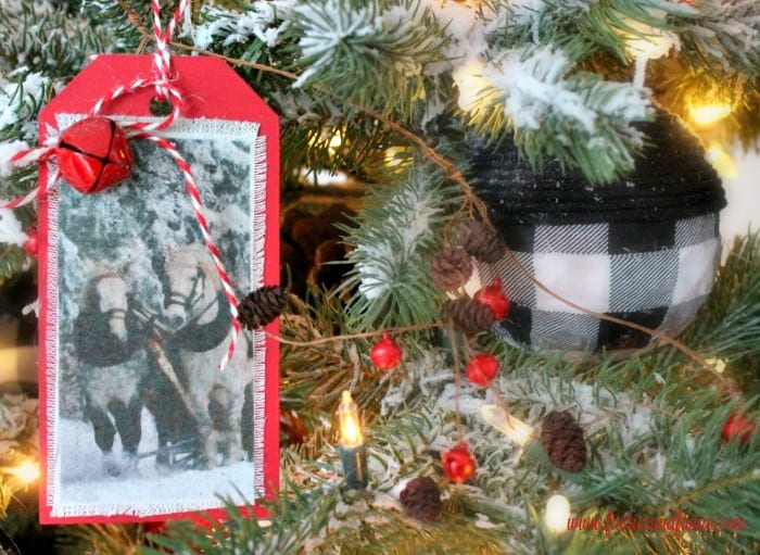 DIY Farmhouse Christmas tree ornaments on a buffalo check Christmas tree.