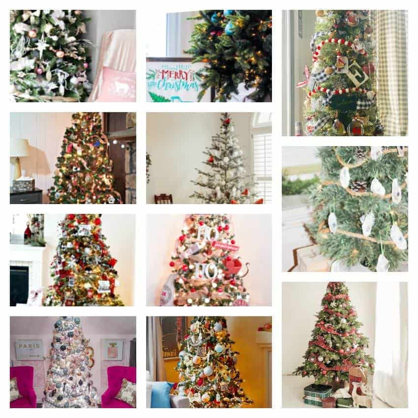 A collage of different Christmas tree ideas.