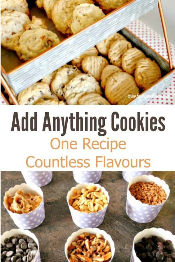 Dozens of different cookies, with raisins, chocolate chips, coconut, pretzels, caramel, walnuts pecans. Cookie Recipe, Drop Cookies, Cookies, Chocolate Chip Cookie Recipe, Peanut Butter Cookie Recipe, Coconut Cookies Recipe, Raisin Cookie Recipe, Add Anything Cookie Recipe, a Perfect everyday cookie recipe