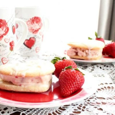 A Valentine Dessert made with Strawberry Ice Cream