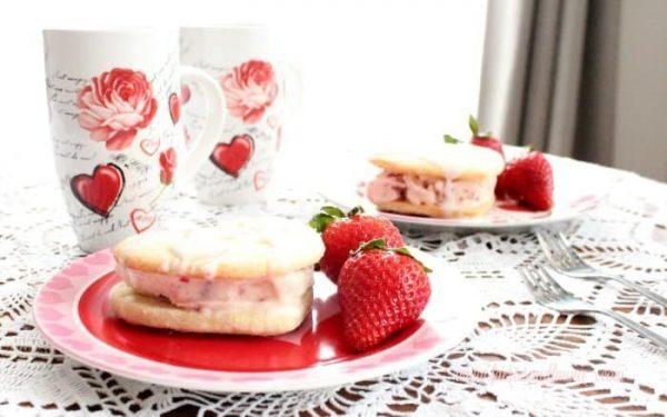Valentine dessert served with fresh strawberries and coffee.