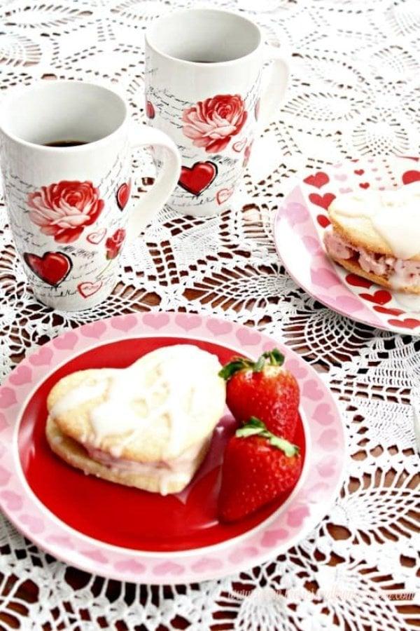 Easy Valentines Dessert with Strawberry Ice cream and coffee