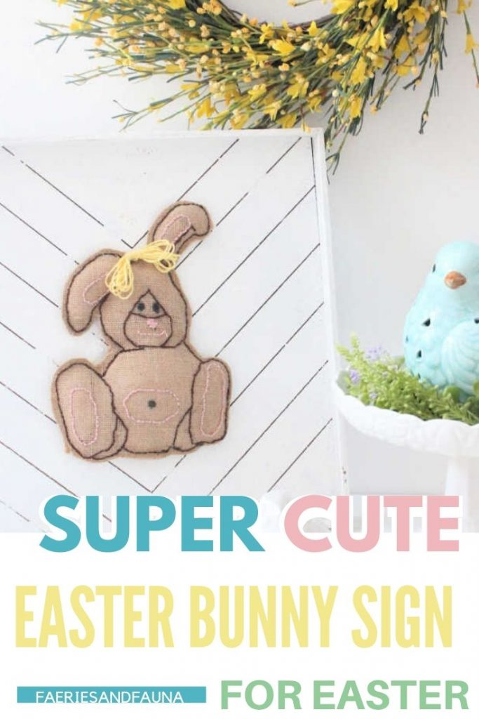 A fun Easter craft for adults. A burlap bunny DIY farmhouse wood Easter sign idea.