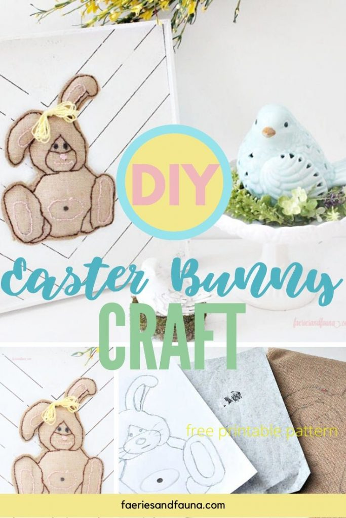 A Easter Bunny Craft made with burlap, embroidery and placed on a farmhouse wood sign.