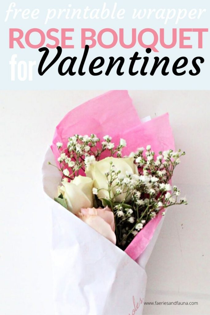 A Valentine rose bouquet tutorial with with roses, baby breath, pretty crepe paper and a free printable floral wrapper for Valentines day or Galentines.