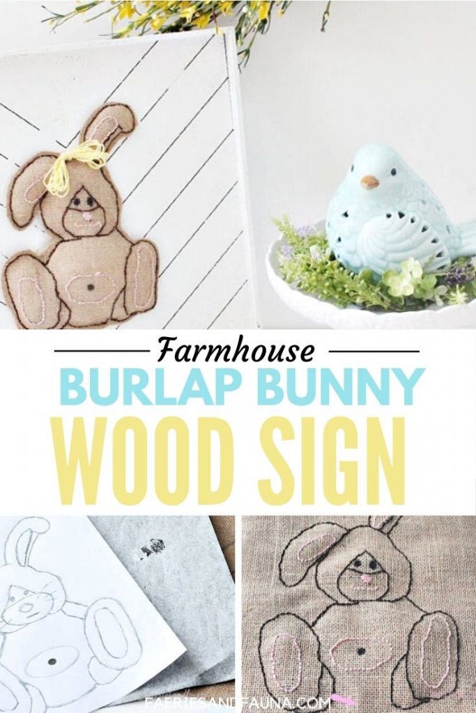 Easy Easter craft using a farmhouse wood sign, easy embroidery, and burlap.