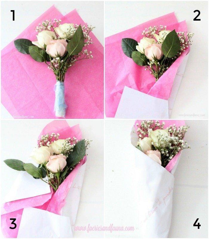 Tutorial on making a DIY Valentine Rose bouquet bundle for Galentines