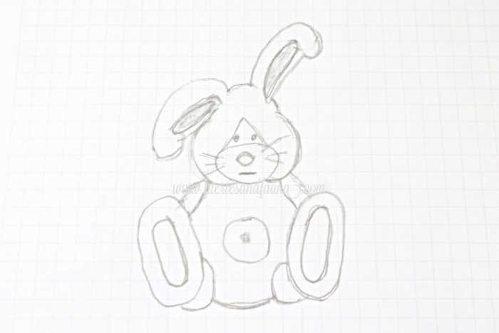 DIY bunny sketch for Easter adult craft.