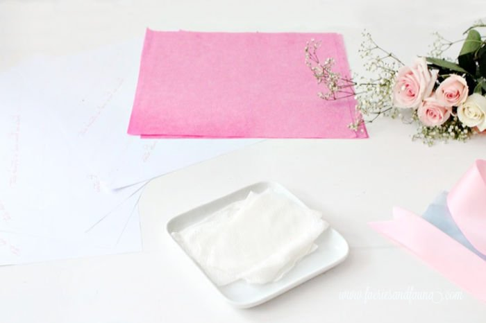 Supplies for wrapping a miniature floral bouquet.