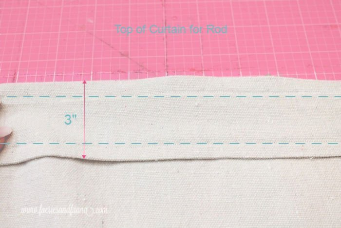 Sewing the pocket rod on the top of handmade drapes made with drop cloth.