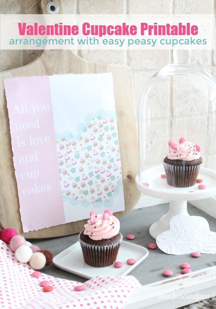 Valentine's day printable about cupcakes.