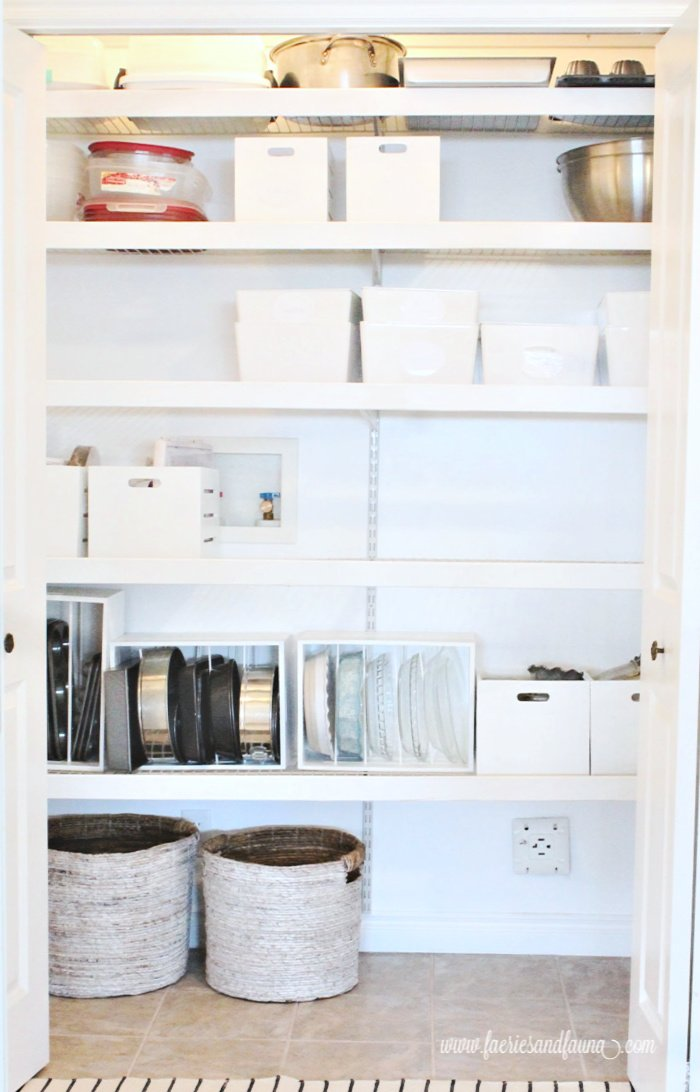 A large pantry with updated wire shelves.