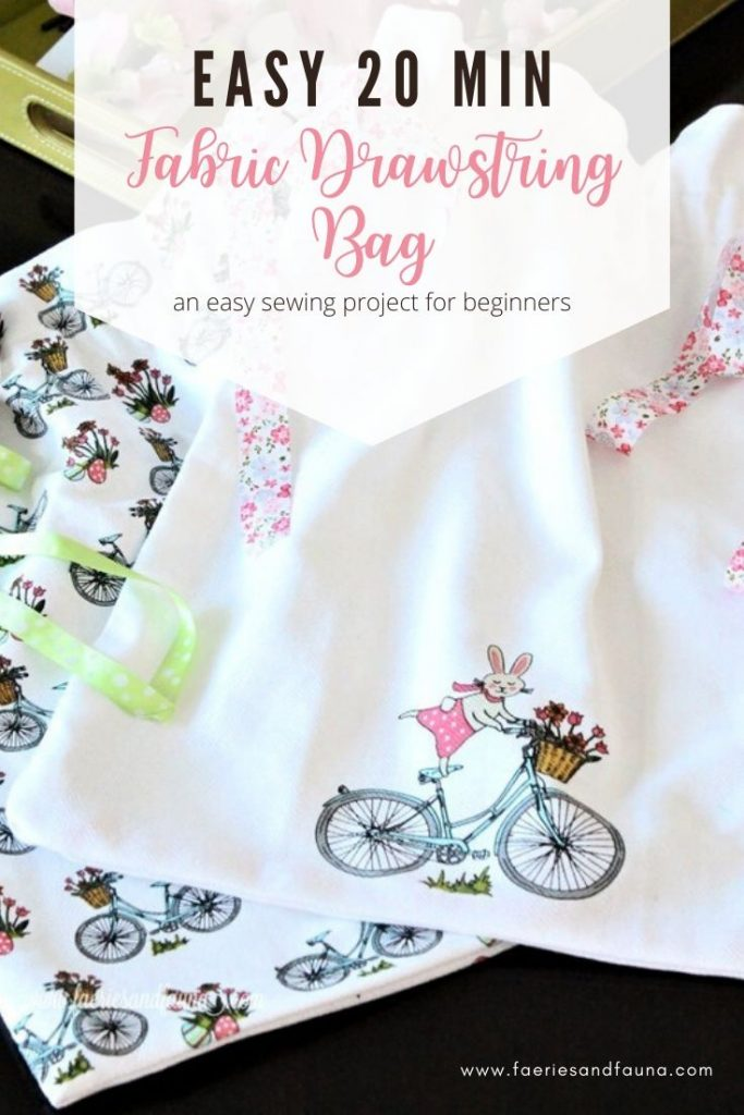DIY fabric drawstring bag using tea towels.  A easy sewing project for beginners.