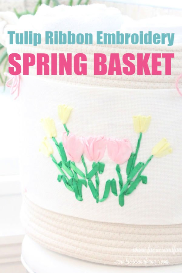 Tulip embroidered basket for Spring