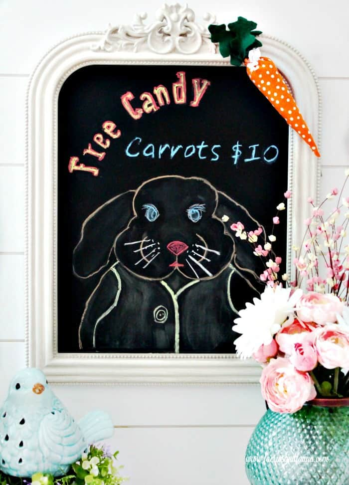 Bunny Easter Craft Project for adults. An easy to make Easter Bunny Chalkboard