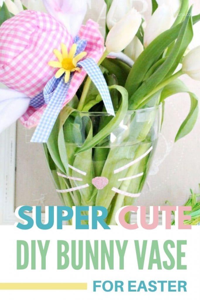 A DIY Bunny vase for Easter.
