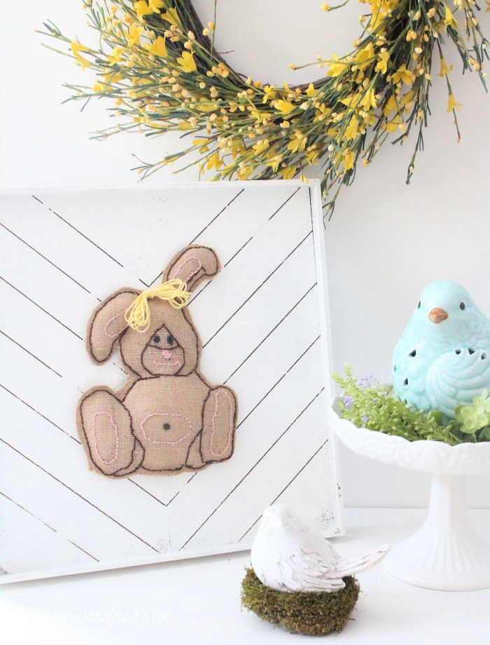 Burlap Easter bunny artwork, an Easter craft for adults.