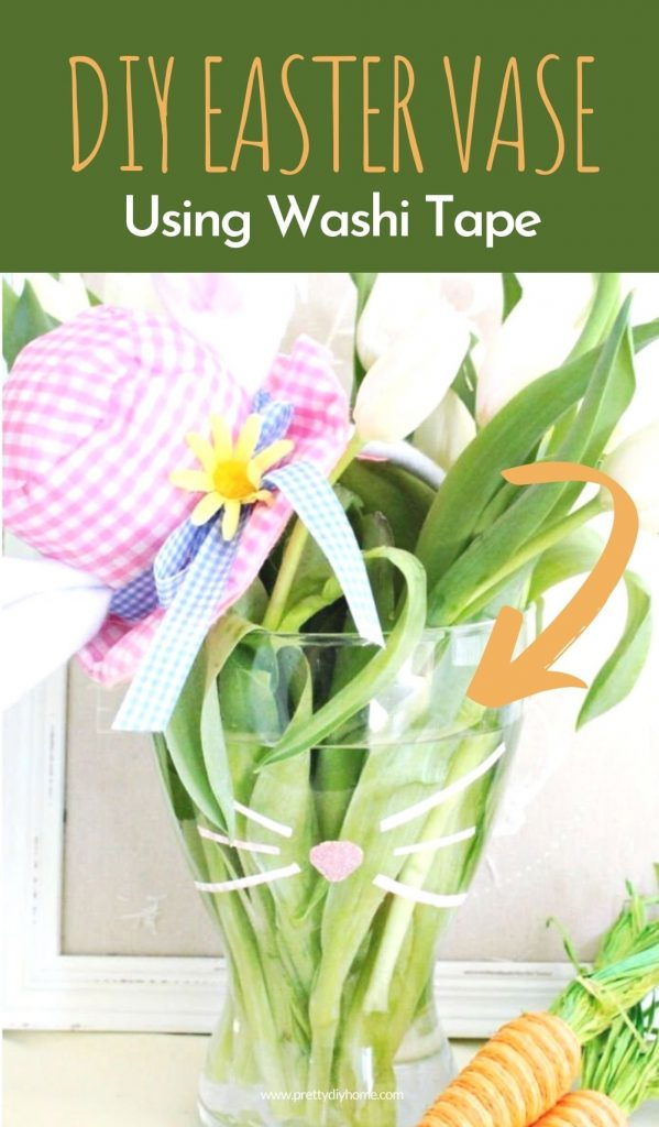 DIY Easter Vase decor idea using washi tape, and fresh flowers. The white tulips have a fun dollar store country hat perched on the side and there is a burlap bunny sign in the background.