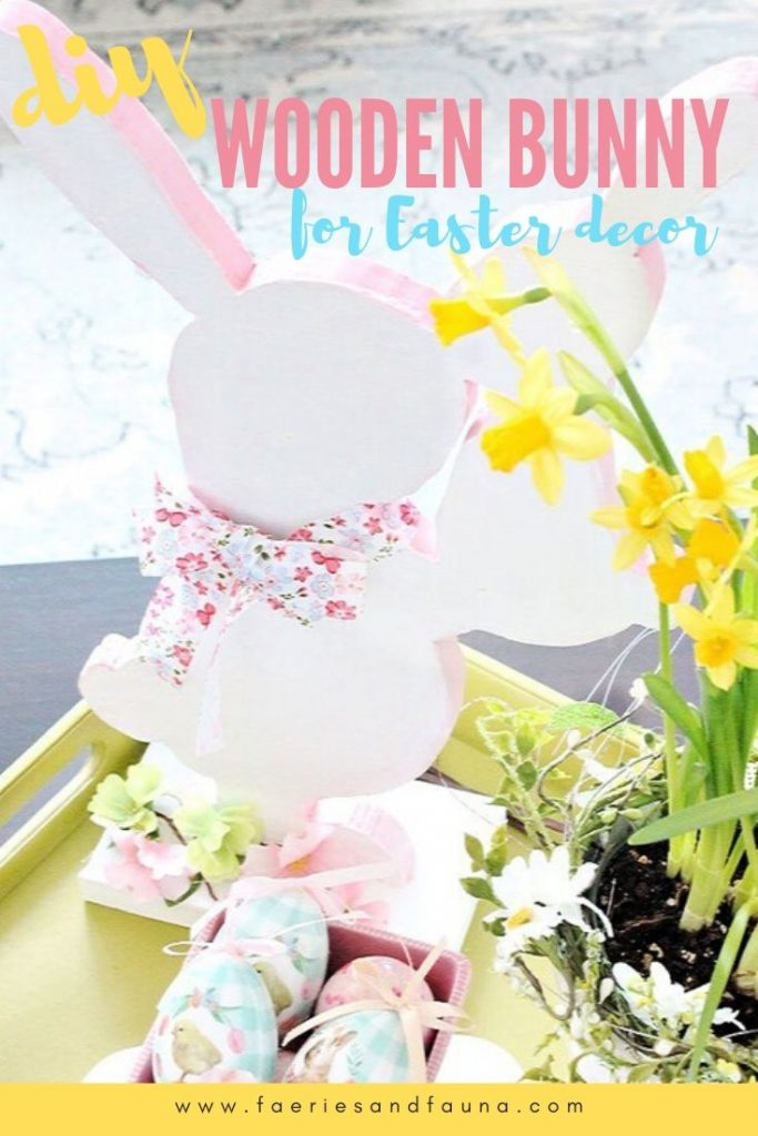 How to make a wood Easter bunny craft using a free bunny pattern for cheap.