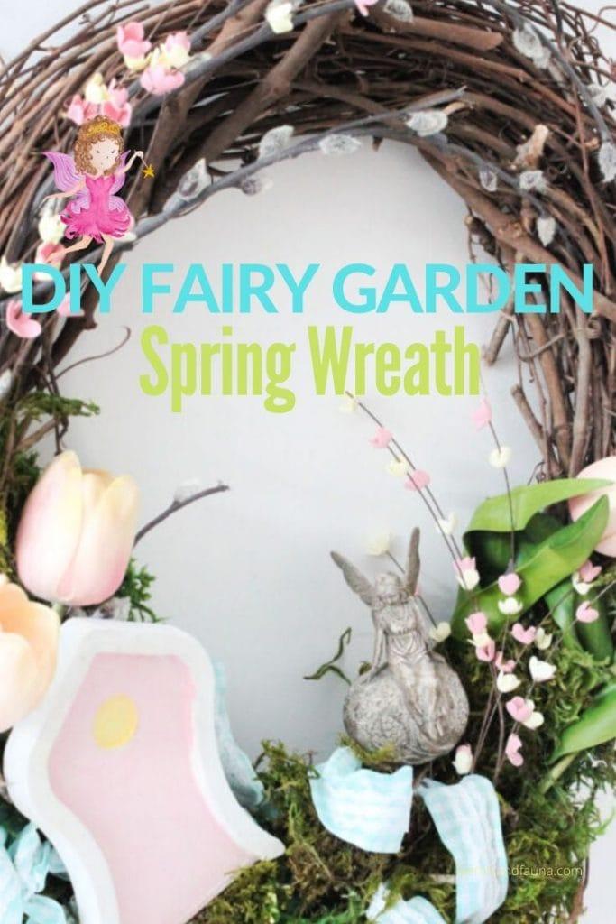 Hand made Spring Wreath and Fairy Garden