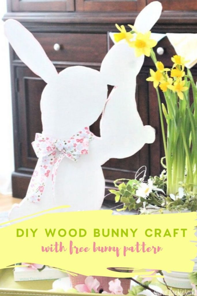 Large wooden Easter Bunny craft using scrap wood. A super easy woodworking project for beginners that is perfect for Easter decor.
