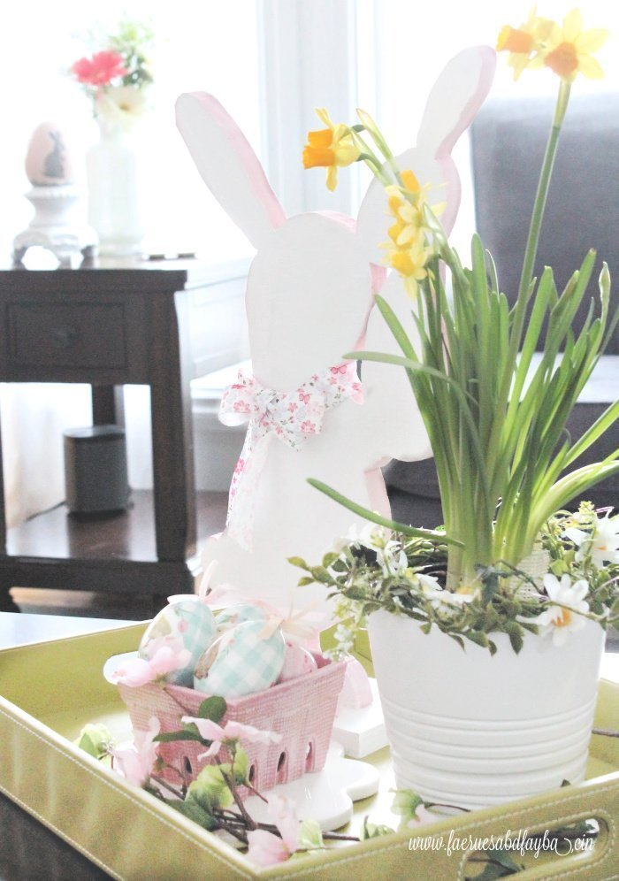 A bright Easter bunny arrangement for Easter or Spring