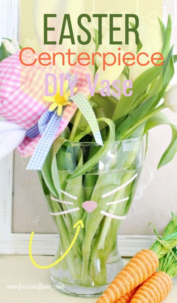A simple and adorable Eastercenterpiece DIY Vase, with bunny whiskers.