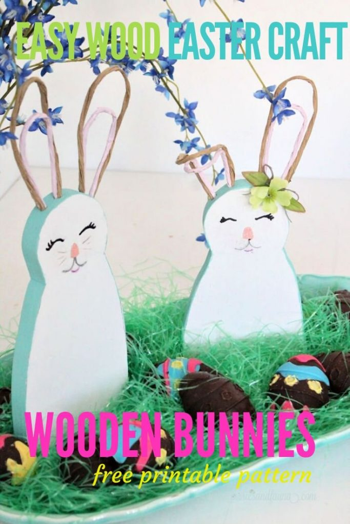 DIY Wooden Easter bunny decorations made with scrap wood and free pattern.