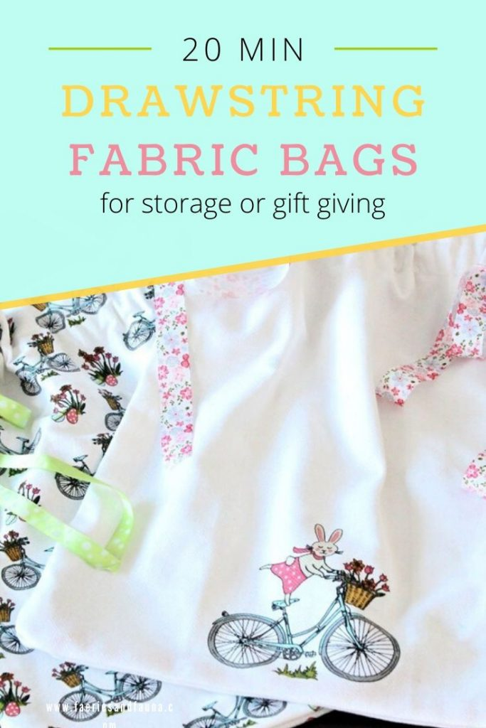 Make an easy to sew DIY fabric bag with a drawstring.