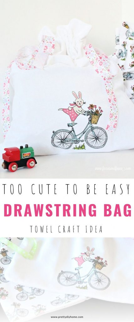 Pretty DIY Drawstring bag with a pink bunny on a bicycle embroidery stamp and floral string.