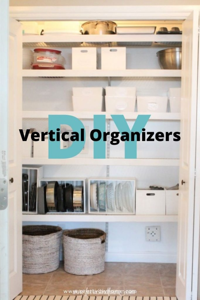 A beautifully organized Pantry with vertical storage, boxes and baskets