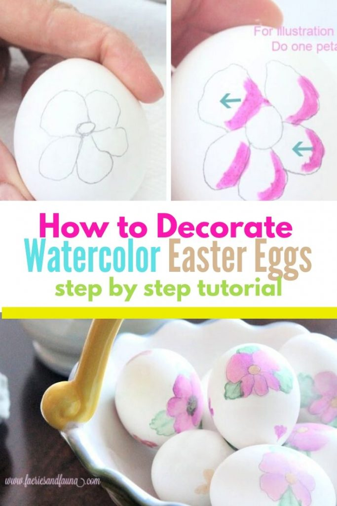 Easy watercolour Easter egg decorating idea for families.