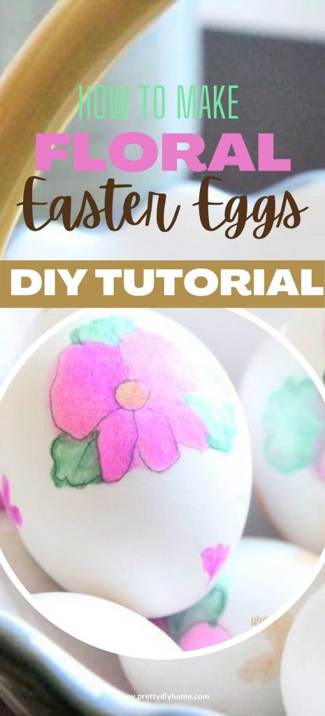 A basket full of home decorated Easter eggs, using real white eggs that are then painting using watercolor pens. The eggs have pink blossoms, green leaves and a gold center.
