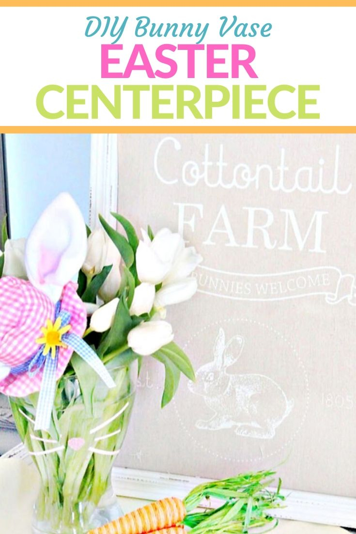 A DIY bunny vase Easter centerpiece for either affordable Easter decor or a thoughtful easy hand made Easter gift idea.