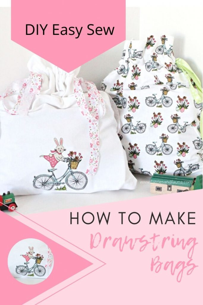 Easy sewing project for beginners. A DIY fabric drawstring bag.