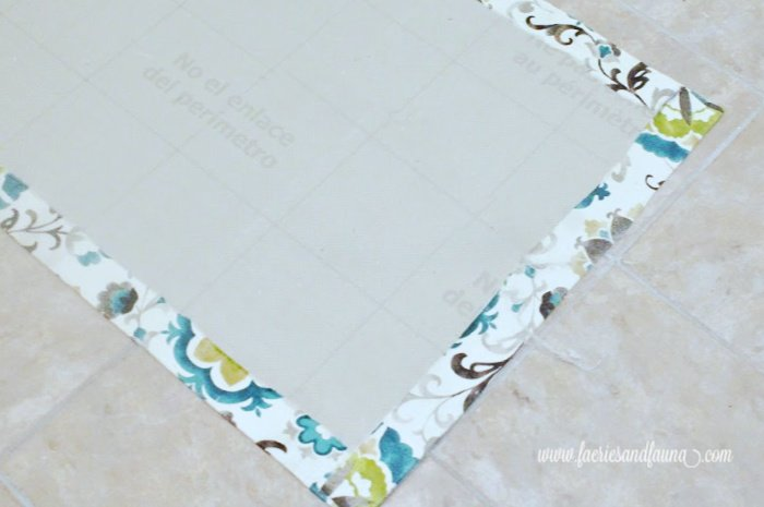 Folding over fabric on a DIY floor mat