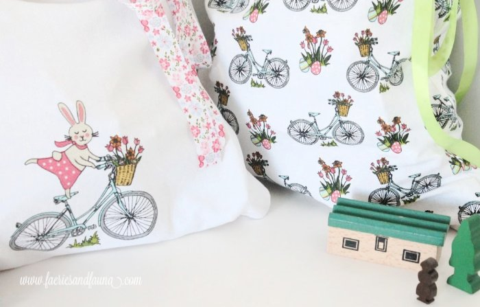 Two very pretty Spring motifs and patterns on DIY Easter Gift bags or DIY fabric drawstring bag, perfect easy sew project for beginning sewers.