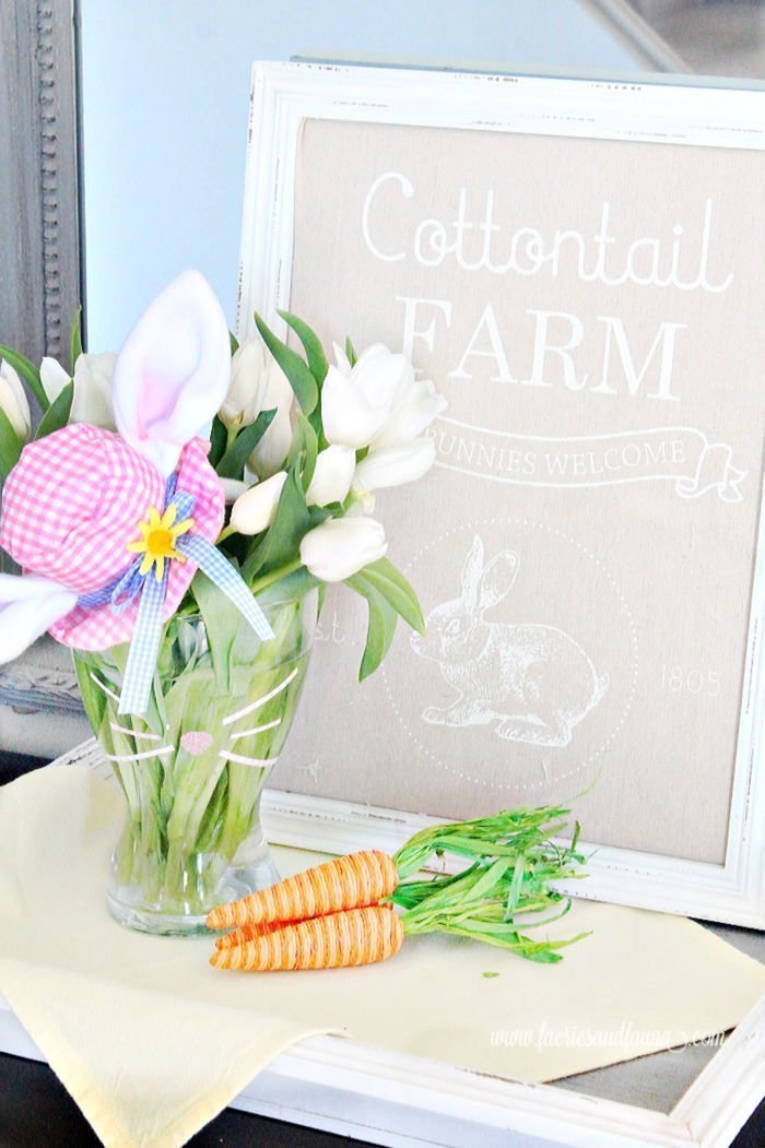 A DIY flower arrangement for Easter using tulips and a upcycled vase.