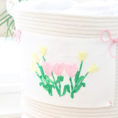 How to Update a Spring Basket with Tulip Ribbon Embroidery